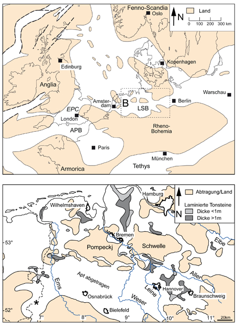 Landkarte Europas (A) und Norddeutschlands (B) vor 120 Millionen Jahren mit der Verteilung von Land (beige) und Wasser (weiss). Verändert aus Lehmann et al. (2012)